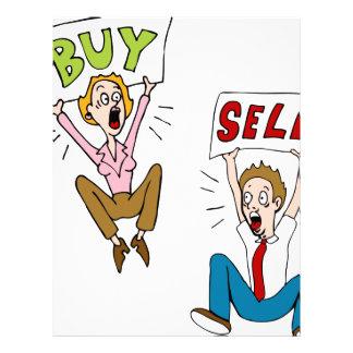 Buy Sell Investors Cartoon Letterhead