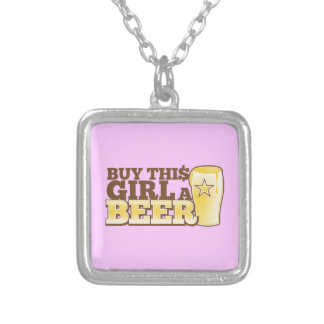 Buy This Girl a BEER! Silver Plated Necklace