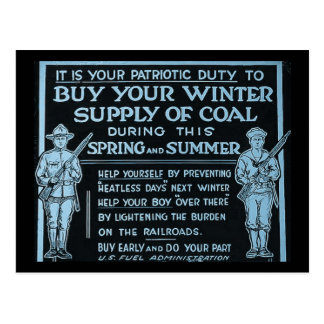 Buy Your Winter Supply of Coal Vintage - WWI Post Cards