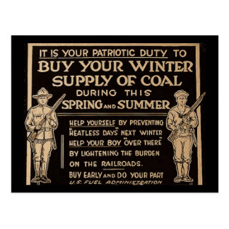 Buy Your Winter Supply of Coal Vintage - WWI Postcard