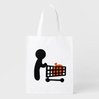 Buying a pumpkin for Halloween Reusable Grocery Bag
