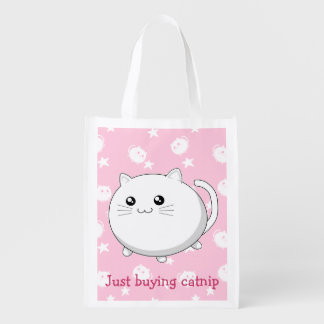 Buying catnip funny fat cute kawaii white cat grocery bag