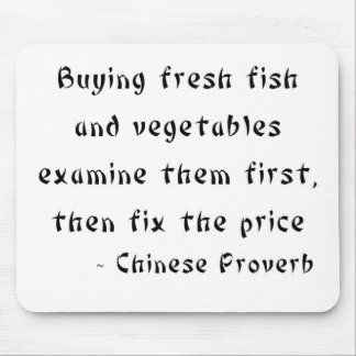 Buying fresh fish and vegetables examine them mouse pad