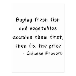 Buying fresh fish and vegetables examine them postcard