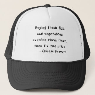Buying fresh fish and vegetables examine them trucker hat