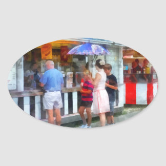 Buying Ice Cream at the Fair Oval Sticker