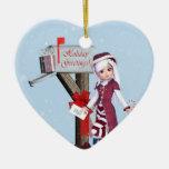 Buzón del duende del cartero y ornamento de los adorno navideño de cerámica en forma de corazón