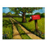 Buzón rojo del país: Pintura al óleo Postal