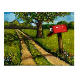 Buzón rojo del país: Pintura al óleo Tarjeta Postal