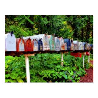 Buzones múltiples en una fila tarjetas postales