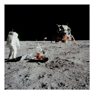 Buzz Aldrin and Lunar Module on the Moon Poster