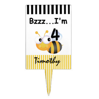 Buzz Bee 4th Birthday Cake Topper
