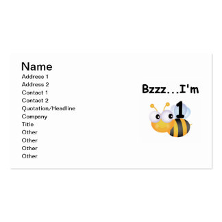 Buzz Bumblebee 1st Birthday T-shirts and Gifts Double-Sided Standard Business Cards (Pack Of 100)