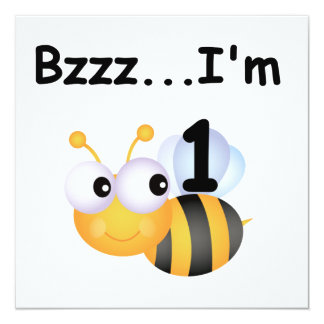 Buzz Bumblebee 1st Birthday T-shirts and Gifts Custom Invite