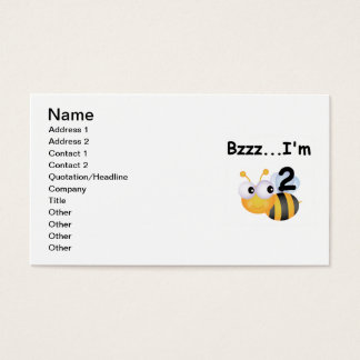 Buzz Bumblebee 2nd Birthday T-shirts and Gifts Business Card