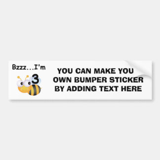 Buzz Bumblebee 3rd Birthday T-shirts and Gifts Bumper Stickers