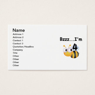 Buzz Bumblebee 4th Birthday T-shirts and Gifts Business Card