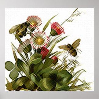 Buzz Buzz & Floral Poster