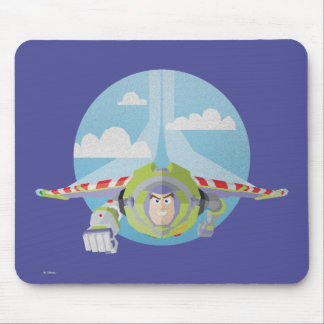Buzz Lightyear Flying Despeckled Retro Graphic Mouse Pad