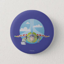 Buzz Lightyear Flying Despeckled Retro Graphic Pinback Button