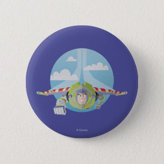 Buzz Lightyear Flying Despeckled Retro Graphic Pinback Button
