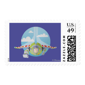 Buzz Lightyear Flying Despeckled Retro Graphic Postage Stamp