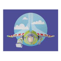 Buzz Lightyear Flying Despeckled Retro Graphic Postcard
