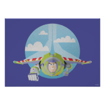 Buzz Lightyear Flying Despeckled Retro Graphic Poster