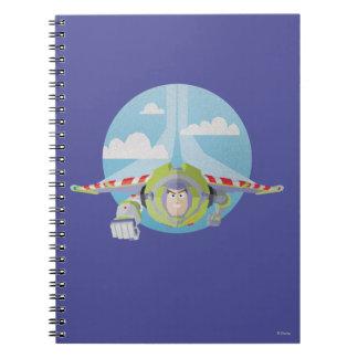 Buzz Lightyear Flying Despeckled Retro Graphic Spiral Notebook