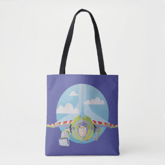 Buzz Lightyear Flying Despeckled Retro Graphic Tote Bag