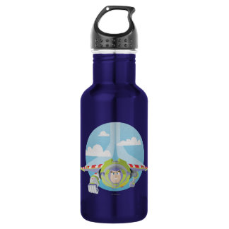 Buzz Lightyear Flying Despeckled Retro Graphic Water Bottle
