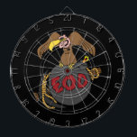 """Buzzard Bomb and Pick Dartboard With Darts<br><div class=""""desc"""">Buzzard,  Bomb and Pick design for EOD. Background color can be changed.</div>"""