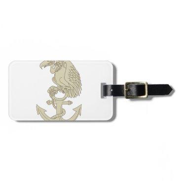 Buzzard Perching Navy Anchor Cartoon Luggage Tag