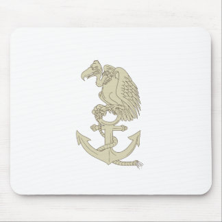 Buzzard Perching Navy Anchor Cartoon Mouse Pad