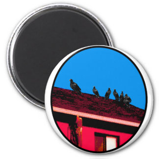 Buzzards o Magenta Blue The MUSEUM Zazzle Gifts 2 Inch Round Magnet