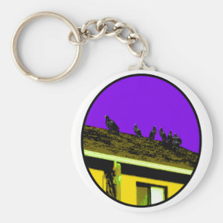 Buzzards o Yellow Purple The MUSEUM Zazzle Gifts Basic Round Button Keychain