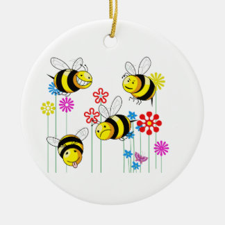 Buzzed Bees in Flowers Ceramic Ornament