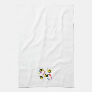 Buzzed Bees in Garden Flowers Hand Towel