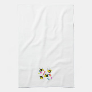 Buzzed Bees in Garden Flowers Kitchen Towels