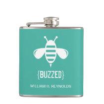 {BUZZED} Bridal Party Buzzed Bee Gift (aqua) Flask