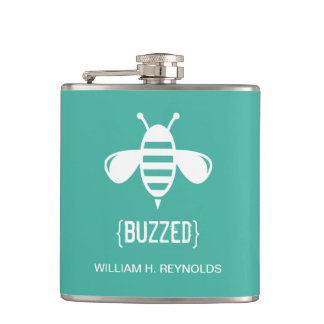{BUZZED} Bridal Party Buzzed Bee Gift (aqua) Flask