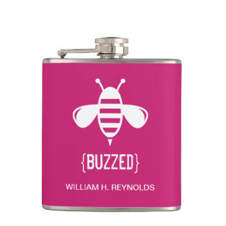 {BUZZED} Bridal Party Buzzed Bee Gift (fuchsia) Hip Flask