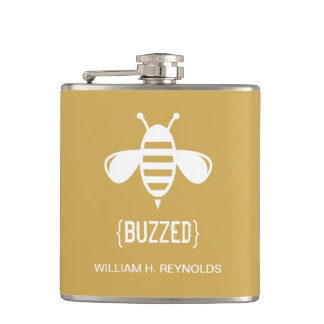 {BUZZED} Bridal Party Buzzed Bee Gift (gold) Hip Flask