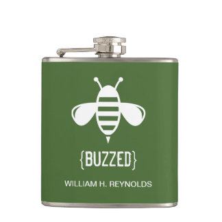 {BUZZED} Bridal Party Buzzed Bee Gift (green) Flasks