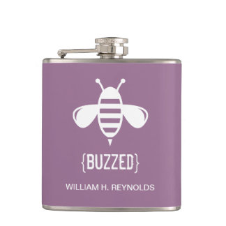 {BUZZED} Bridal Party Buzzed Bee Gift (purple) Flask