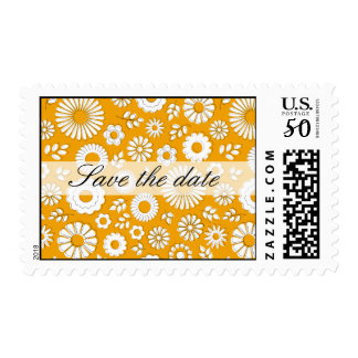 """Buzzer floral orange """"save the DATE"""" pos-meets Postage"""