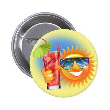 Beach Themed Buzzer Sun smiley Pinback Button