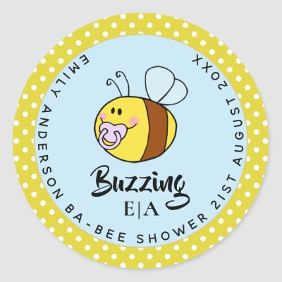 Buzzing Ba-BEE Baby Shower Cute Thank You Favor Classic Round Sticker