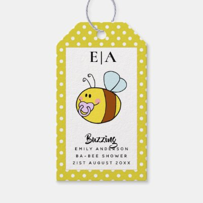 Buzzing Ba-BEE Baby Shower Cute Thank You Favor Gift Tags