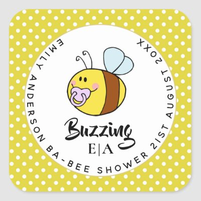 Buzzing Ba-BEE Baby Shower Cute Thank You Favor Square Sticker